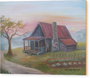 Life In The Country Wood Print by Glenda Barrett