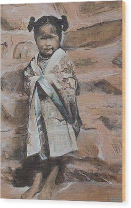 Little Hopi Girl Wood Print