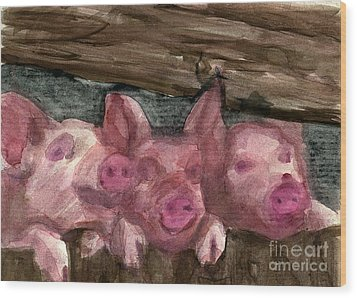 3 Little Pigs Wood Print by Sandra Stone