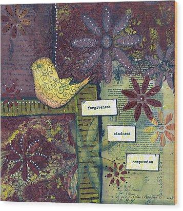 3 Little Words Wood Print by Sue Brassel