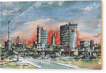 Lubbock Texas Skyline Wood Print by Tim Oliver