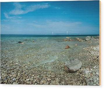 Wood Print featuring the photograph Mackinac Bridge by Larry Carr