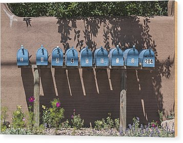 Mailboxes Santa Fe Nm Wood Print by David Litschel