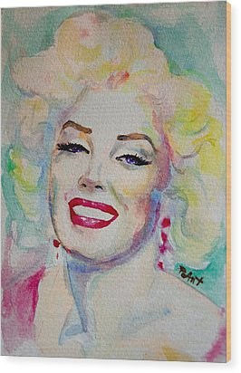 Wood Print featuring the painting Marilyn by Laur Iduc