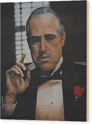 Marlon Brando The Godfather Wood Print by David Dunne