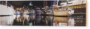 Marseille France Panorama At Night Wood Print by Michal Bednarek