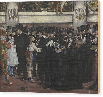 Masked Ball At The Opera Wood Print by Edouard Manet