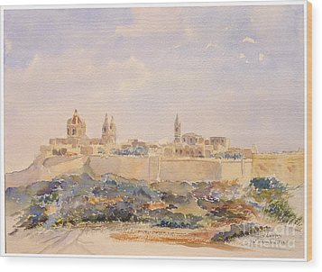 Mdina Skyline Wood Print by Godwin Cassar