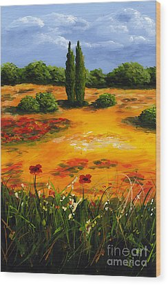 Mediterranean Landscape Wood Print by Edit Voros