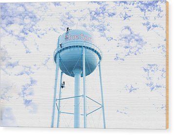 3 Men Painting The Blue Springs Water Tower Wood Print by Andee Design