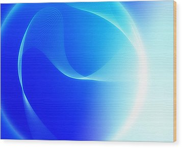 Modern Blue Abstract  Wood Print by Modern Art Prints