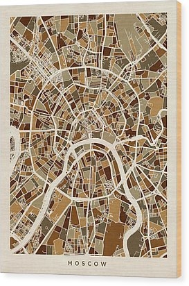 Moscow City Street Map Wood Print by Michael Tompsett