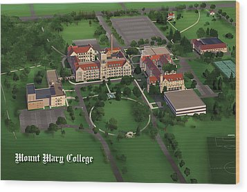 Mount Mary College  Wood Print by Rhett and Sherry  Erb