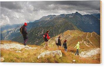 Mountains Stormy Landscape Wood Print by Michal Bednarek