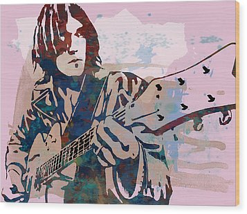 Neil Young Pop Artsketch Portrait Poster Wood Print by Kim Wang