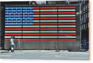 Neon American Flag Wood Print by Allen Beatty