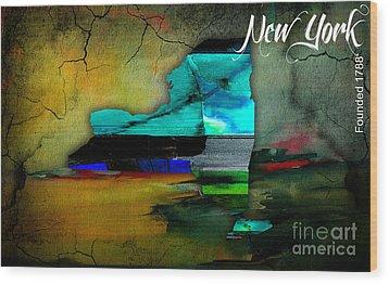 New York Map Watercolor Wood Print