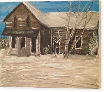 Wood Print featuring the painting Old House by Paula Brown