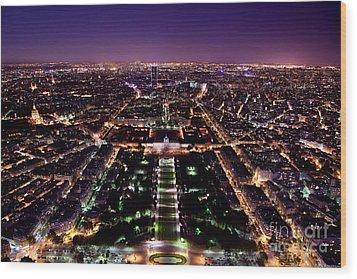 Paris Panorama France At Night Wood Print by Michal Bednarek