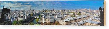 Paris Panorama France Wood Print by Michal Bednarek