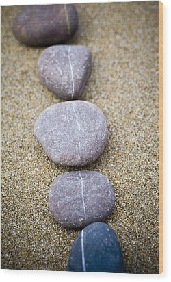 Pebbles Wood Print by Frank Tschakert