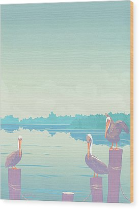 Abstract Pelicans Tropical Florida Seascape Large Pop Art Nouveau 80s 1980s Stylized Painting Wood Print by Walt Curlee