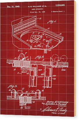 Pinball Machine Patent 1939 - Red Wood Print by Stephen Younts