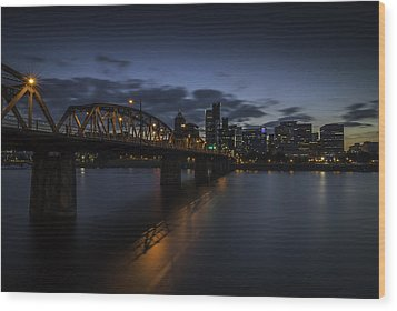 Portland Waterfront Wood Print by Jean-Jacques Thebault