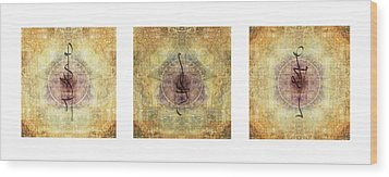 Prayer Flag Triptych  Wood Print by Carol Leigh