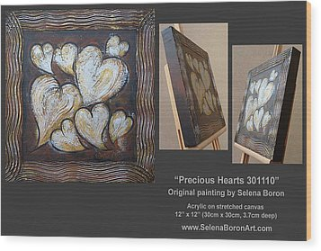Wood Print featuring the painting Precious Hearts 301110 by Selena Boron