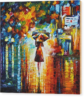 Rain Princess Wood Print by Leonid Afremov
