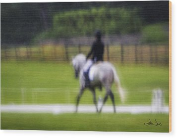 Wood Print featuring the photograph Rainy Day Dressage by Joan Davis