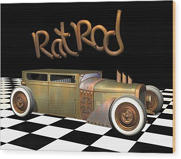 Rat Rod Sedan Wood Print by Stuart Swartz