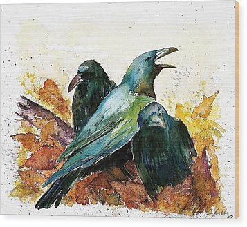 3 Ravens Wood Print by Carolyn Doe