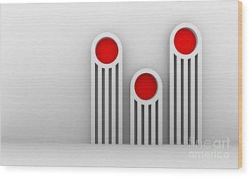 3 Red Illuminators Wood Print by Igor Kislev