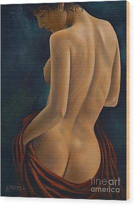 Red Silk Wood Print by Ricardo Chavez-Mendez