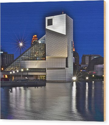Rock And Roll Hall Of Fame Wood Print by Frozen in Time Fine Art Photography