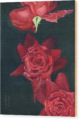 3 Roses Red Wood Print by Katherine Miller