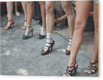 Running On Heels In Moscow Wood Print by Tanya Polevaya