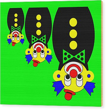 3 Russian Clown Dolls Stand On The Head For You Wood Print by Asbjorn Lonvig