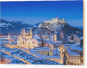 Salzburg In Winter Wood Print