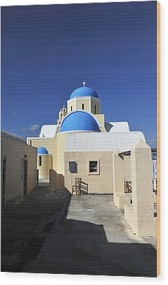 Santorini Greece Wood Print by John Jacquemain
