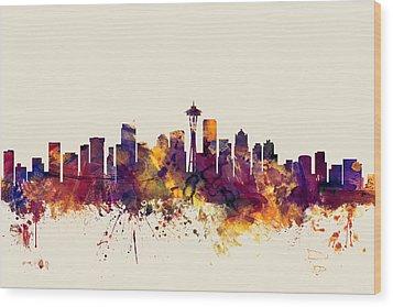 Seattle Washington Skyline Wood Print