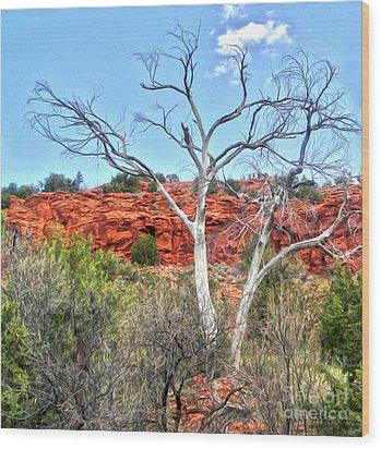 Sedona Arizona Dead Tree Wood Print by Gregory Dyer
