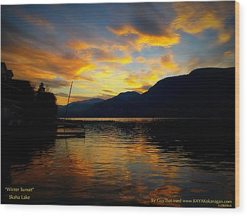 Wood Print featuring the photograph Skaha Lake Sunset by Guy Hoffman