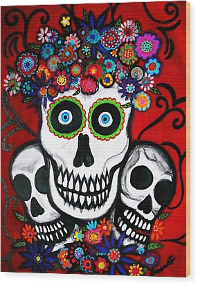 Wood Print featuring the painting 3 Skulls by Pristine Cartera Turkus