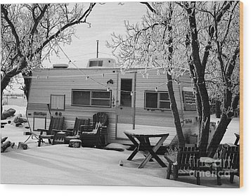 small trailer mobile home covered in snow in rural village of Forget Saskatchewan Canada Wood Print by Joe Fox