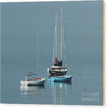 Sorrento Sailboats  Wood Print