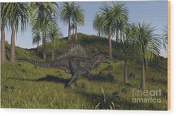 Spinosaurus Hunting In An Open Field Wood Print by Kostyantyn Ivanyshen