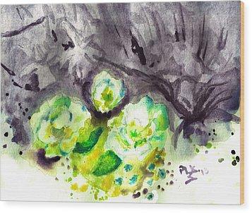 Spring Monochrome Wood Print by Peg Holmes
